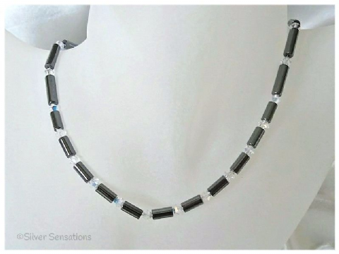 Hematite Tubes & Sparkly Swarovski AB Rainbow Crystals Sterling Silver Necklace